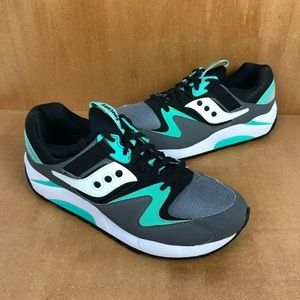 Saucony Grid 9000 Grey Mint Green Running Shoe